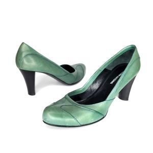 Costume National Green Leather Round Toe Heel